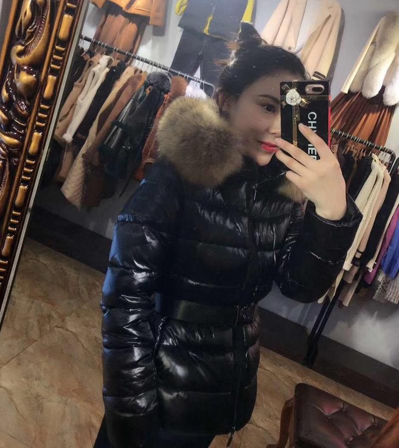 Fashion womens Down jacket hood Sashes British style 100% Raccoon Fur winter Parkas White duck down coats Black winter coat S-XL