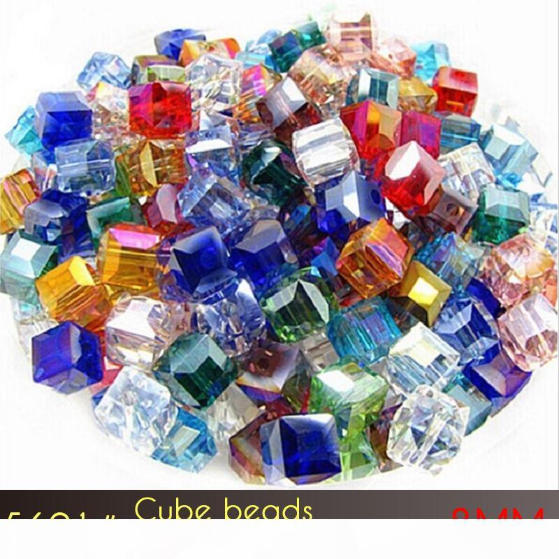 2mm Cubo Agujero Cuadrado De Vidrio Cristal Facetado encanto suelto bolas Fabricación de Joyería 10 un