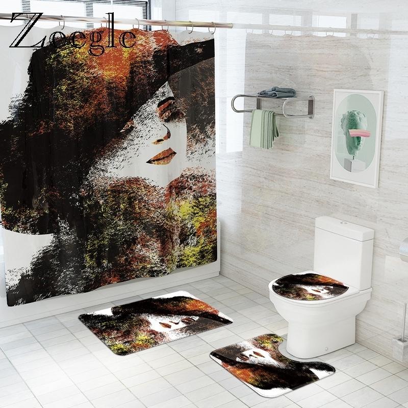 Retro Woman Printed Bath Mat and Shower Curtain Set Non-Slip Toilet Floor Carpet Flannel Toilet Cover Bath Mat Bathroom Rug Set