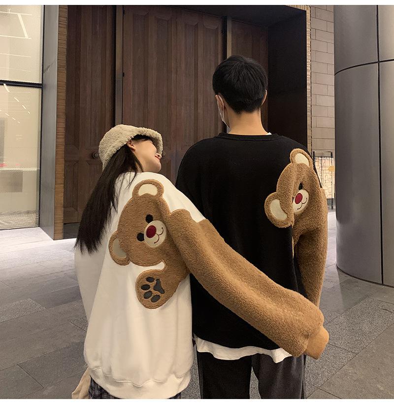 Oversized Hoodie Couple Sweatshirt Autumn Winter Lamb Wool Embroidery Cute Bear Korean Tops loose Kawaii sweatshirts and Hoodies Q0116