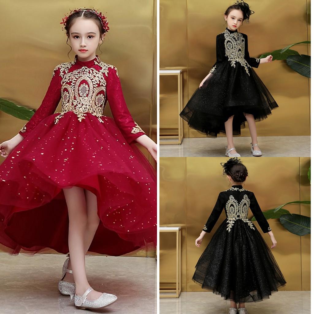 schwarz rot kleine-mädchen-festzug-kleider mit goldspitze der hohen kragen  high low bling tüll blumenmädchen kleid abschlussball-abend-partei-kleid