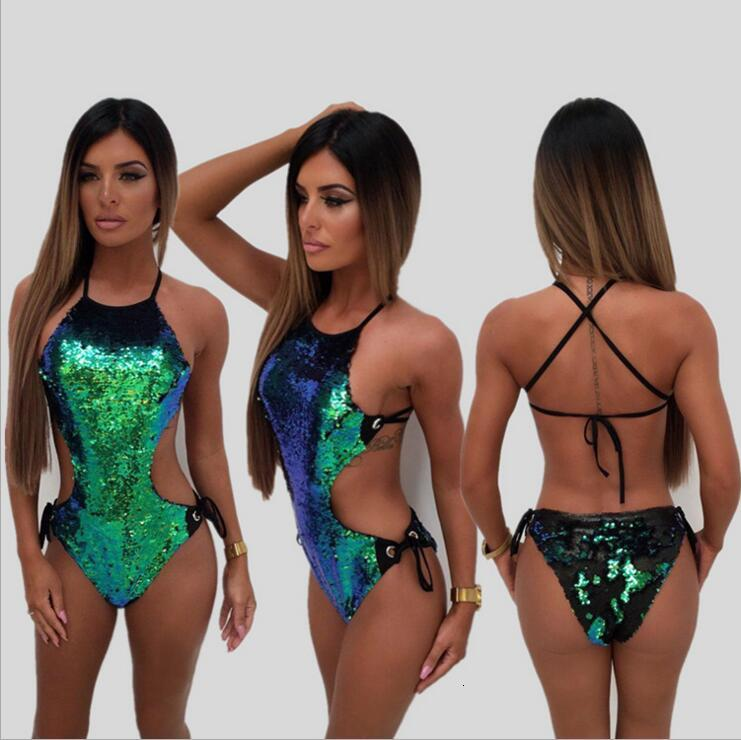 Women Bikini Swimwear 2018 Ladies Sequin One Piece Swimsuit Green Sequins Bodysuit Bandage Jumpsuit Beach Wear