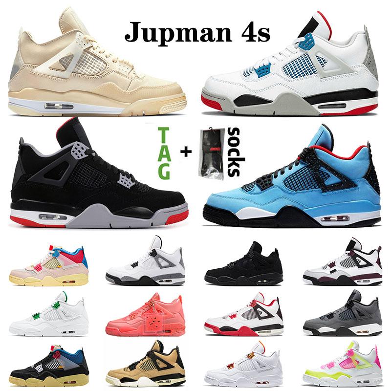 New Arrival 2020 Mens Womens 4 4s Basketball Shoes Union X Jumpman Stock Sail White off Lemon Venom Men Sports Sneakers