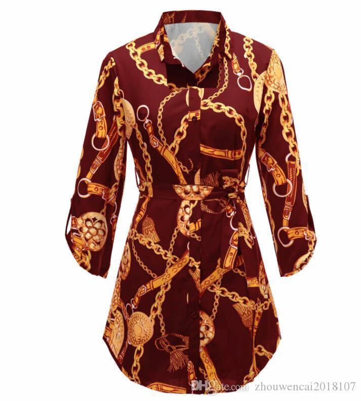 2020 Hot Sale women's stitching tops fashion novel printed long-sleeved shirt sexy personality blouse shirt
