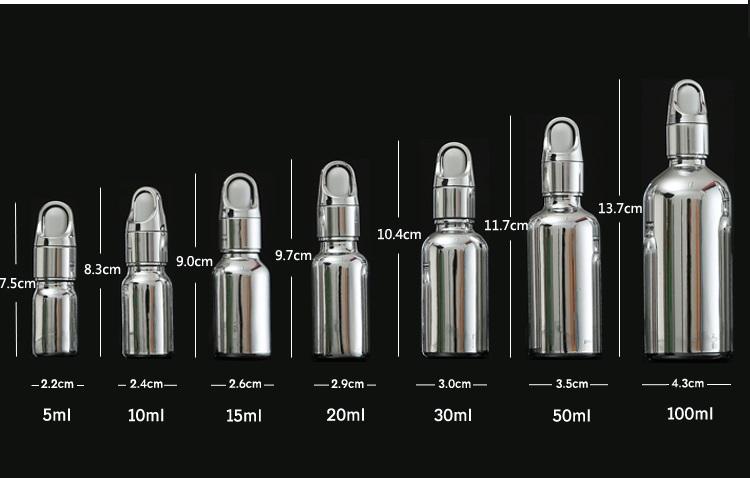 size Silver dropper bottle