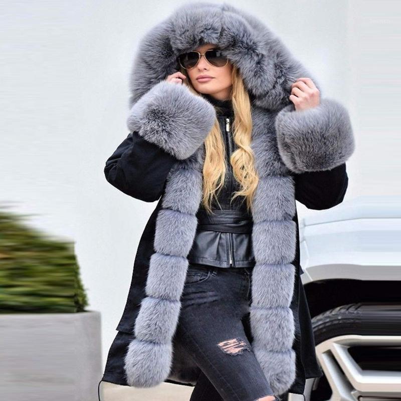 Womens Long Sleeves Faux Coat Winter Jacket Parka Hooded Fishtail Overcoat abrigos mujer invierno 2019 winter coat women1