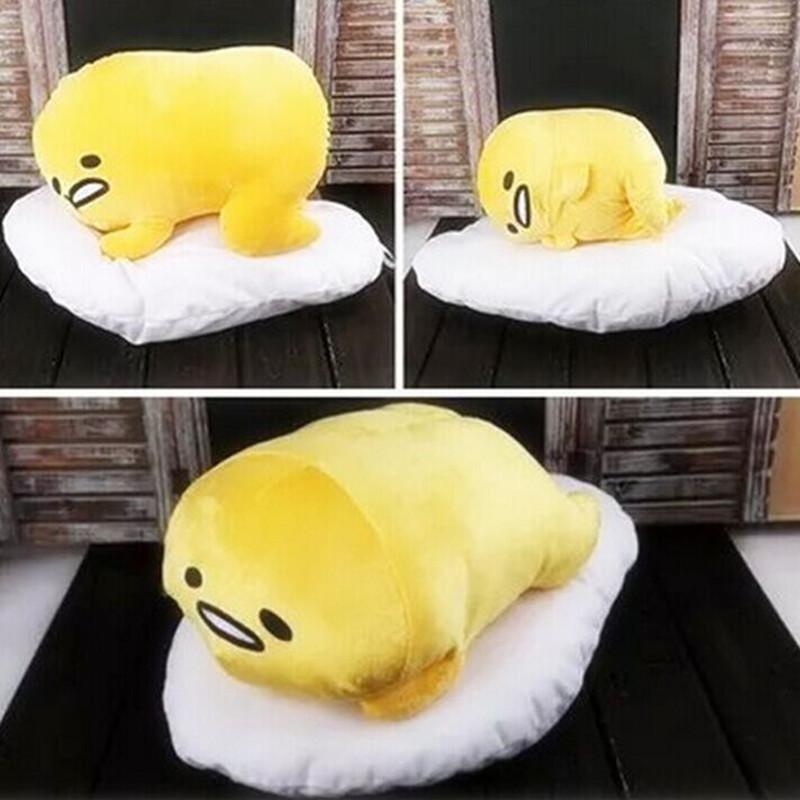 MIAOOWA Official Store Kawaii Hand Warmer Gudetama Lazy Egg Plush Pillow Blanket Staffed Egg Jun Egg Yolk Brother Toy Doll Cute Soft Pillow Cushion 27 x 27 cm Pillow Blanket 1