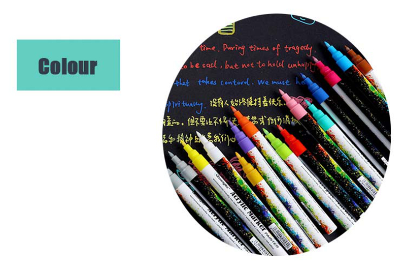 18 ColorsSet 0.7mm Acrylic Paint Marker pen for Ceramic Rock Glass Porcelain Mug Wood Fabric Canvas Painting Detailed Marking (38)