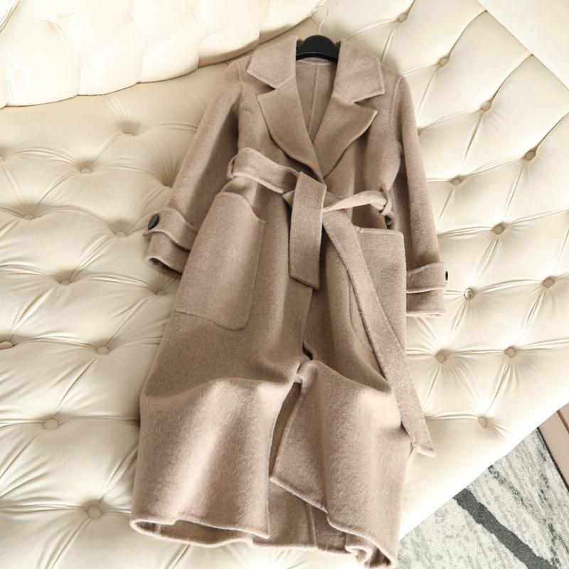 QIAN SI CHEN Autumn New 100% Cashmere Coat Alpaca Warm Winter Coat Women Long Wool Coat Office Lady Slim Female Overcoat 201104