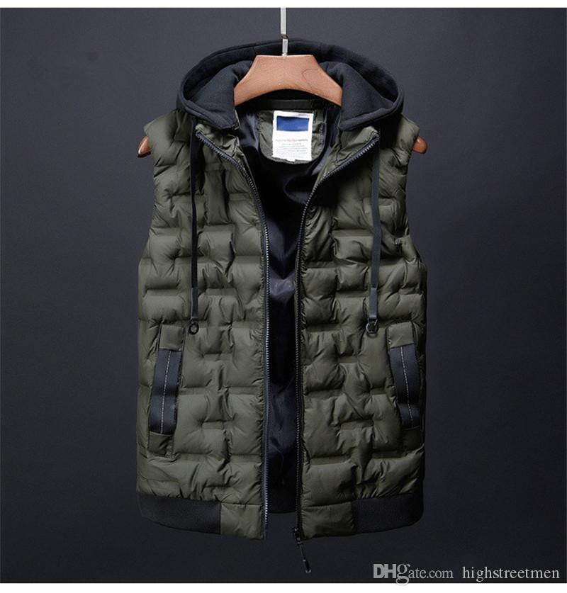 Mens Designer Solid Colors Vests Fashion Autumn Winter Warm Parkas Hooded Vests Mens Casual Thick Clothes