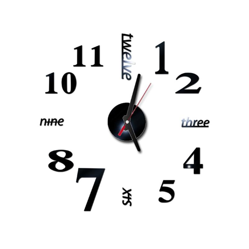 2020 New Clock Watch Wall Clocks Horloge 3d Diy Acrylic Mirror Stickers Home Decoration Living Room Quartz Needle reloj de pared
