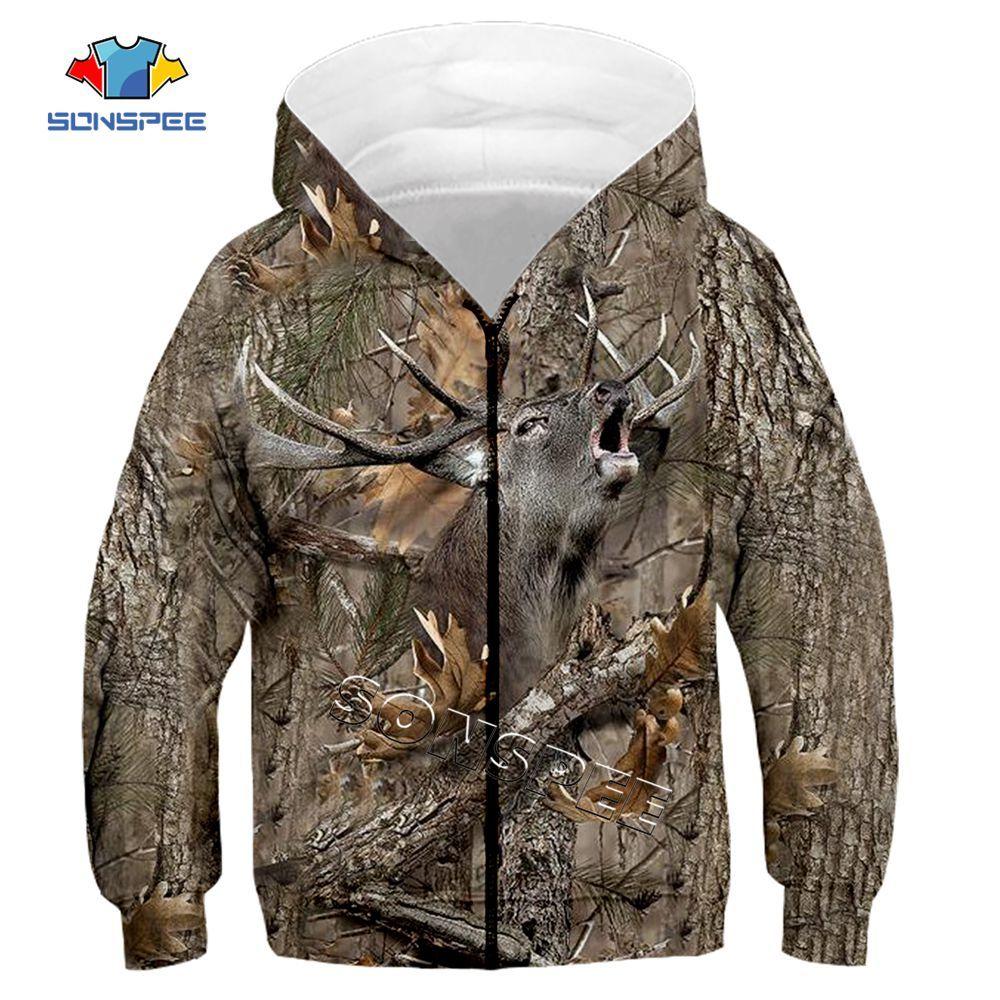 Child Zip Hoody Sweatshirt Top Camouflage Hunting Animal 3D Print Kids Fashion Zipper Hoodie Boy Baby Casual Streetwear Clothing (13)