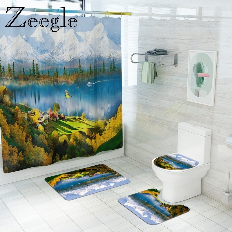 Scenic Bath Mat and Shower Curtain Set Bath Mat Carpet Bathroom Toliet Rug Toilet Seat Cover Shower Floor Mat