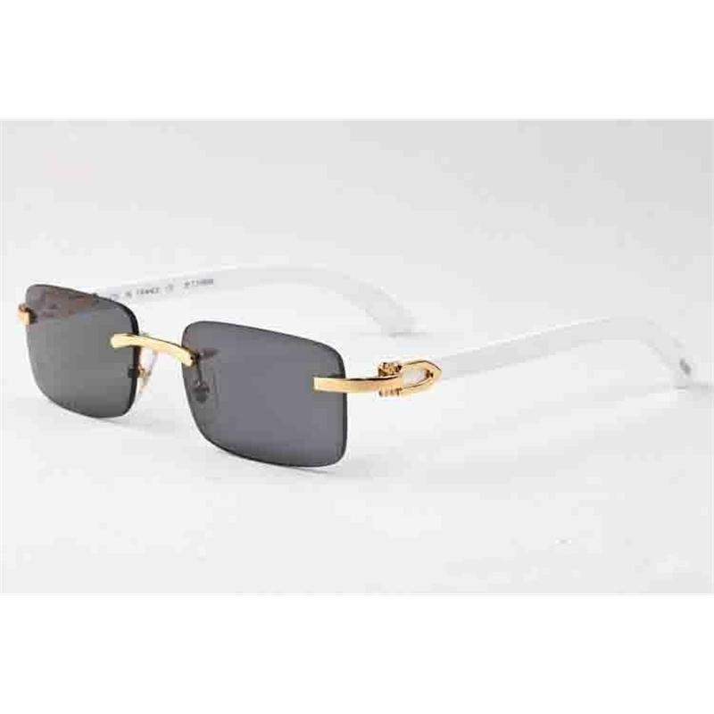 2020 Fashion Buffalo Horn Man Retro Wood Sunglasses Mens and Womens Black Brown Transparent Lens Frameless Sports Attitude Driving Glass