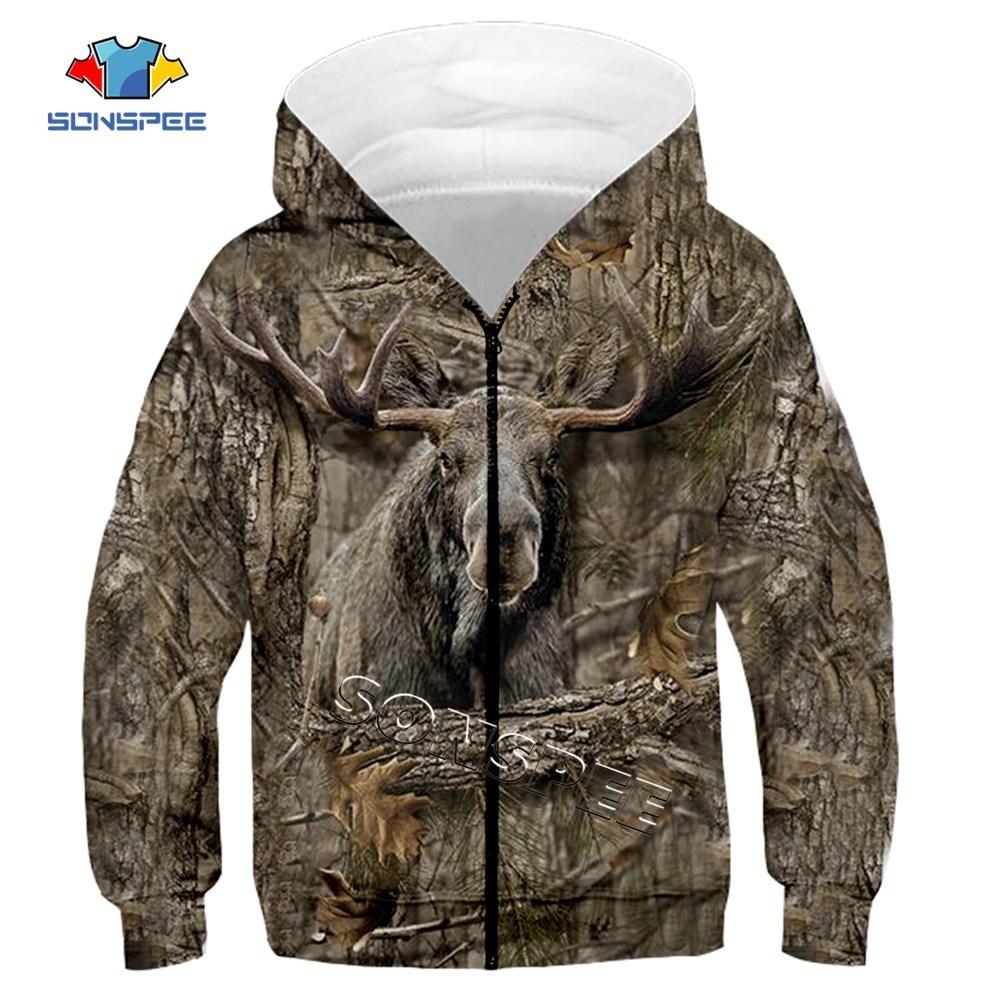 Child Zip Hoody Sweatshirt Top Camouflage Hunting Animal 3D Print Kids Fashion Zipper Hoodie Boy Baby Casual Streetwear Clothing (9)