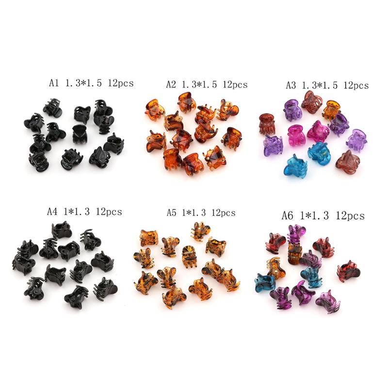 12 piezas de plástico negro Mini Clip Pinza de horquilla 6 garras cabello para damas U3K8