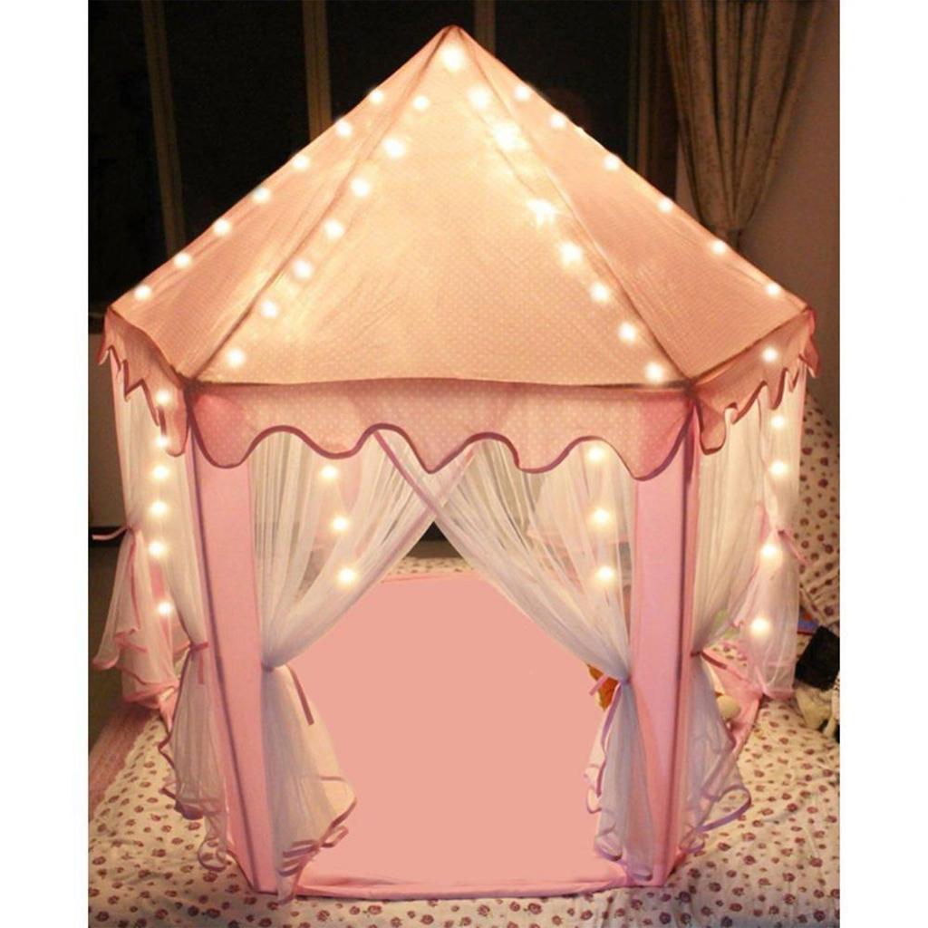 Pink Playhouse Mat, Hexagonal Kids Tent Mat Soft Tent Carpet Floor Cushion for Kids Tent Playhouse Indoor Outdoor Fun