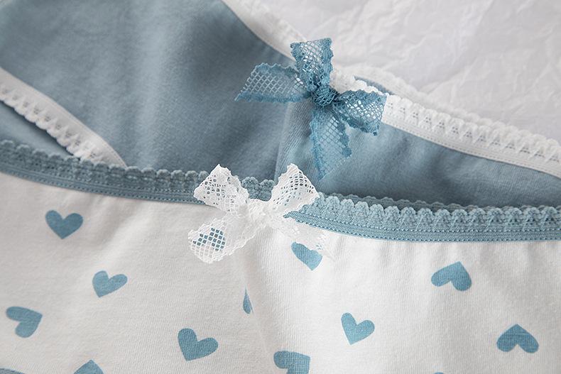 High Quality Plaid Lingerie Girl Love Panties Soft Cotton Underwear Blue Briefs Girls Pants Sexy Lingerie14