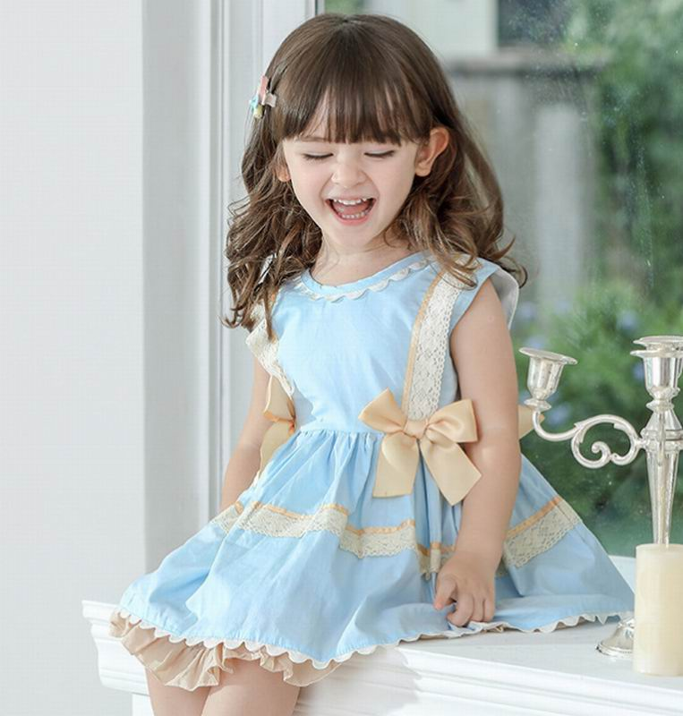 Girls Party Dress Spanish Style Kids Dresses for Girls Bow Sleeveless Princess Girls Dresses Baby Clothes E19237