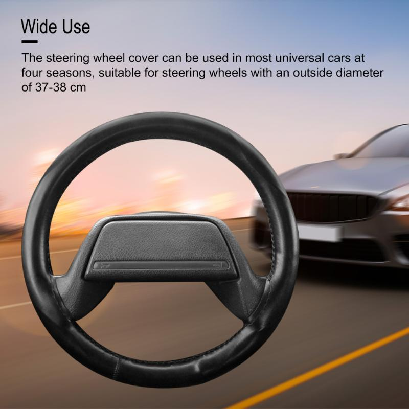 Genuine Leather DIY Braid Auto Car Steering Wheel Cover Universal Midsize 15 In
