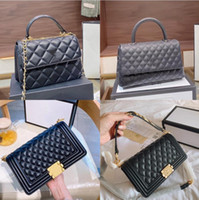 Hot Original Luxury Designer Lingge Caviar Boy Flap bag Top-...