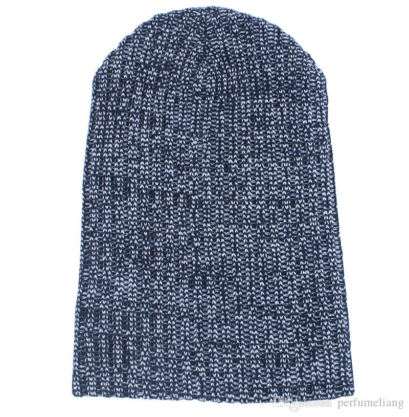 Mix colors Winter Casual Cotton Knit Hats For Men Baggy Beanie Hat Crochet Slouchy Oversized Ski Cap Warm JF-11