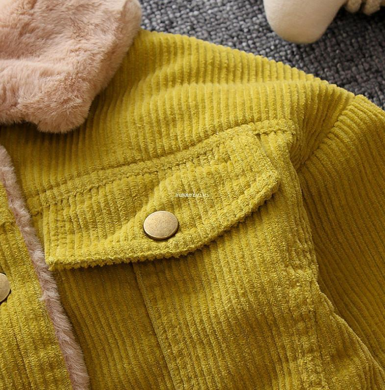 Fashion baby kids coat boys corduroy long sleeve casual outwear girls faux fur thicken warm jacket children winter clothes A4035