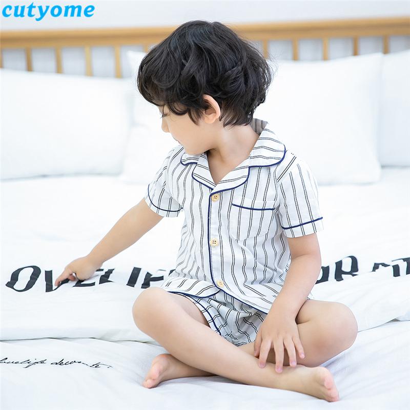korean fashion toddler kids striped pajamas set02