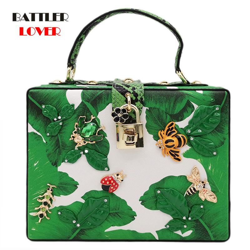Luxury Bags for Women 2020 Green Banana Leaf Women Fashion Shoulder Handbags Top-Handle Box Totes Ladies Casual Crossbody Bag
