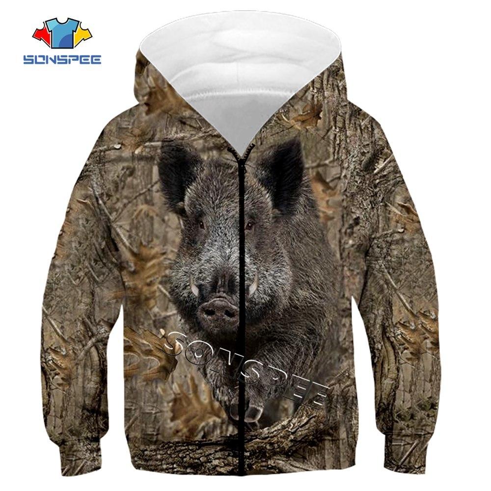 Child Zip Hoody Sweatshirt Top Camouflage Hunting Animal 3D Print Kids Fashion Zipper Hoodie Boy Baby Casual Streetwear Clothing (14)