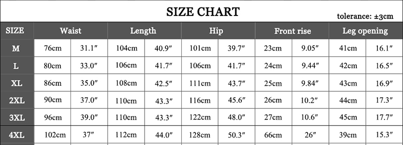 Size Table-pant