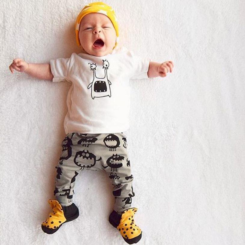 Summer Baby Boy Clothing Sets Baby Boy Clothes Cotton little Monsters Short Sleeve T-shirt+Pants Infant Clothes 2PCS Suit
