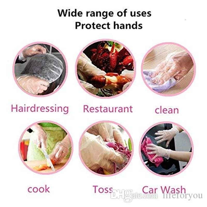 Plastic Disposable Gloves Disposable Food Prep Glof PE PolyGloves for Cooking Cleaning Food Handling Household Cleaning Tools Protect Hand