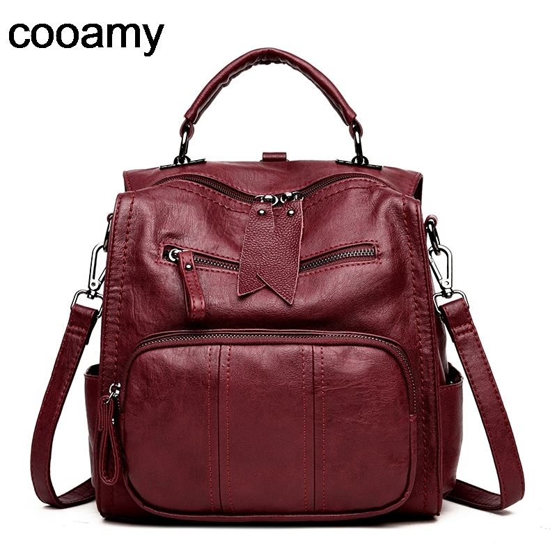 Women Backpacks School Shoulder Bags For Teenager Girls Double zipper Knapsacks High Quality Leather Travel Backpacks