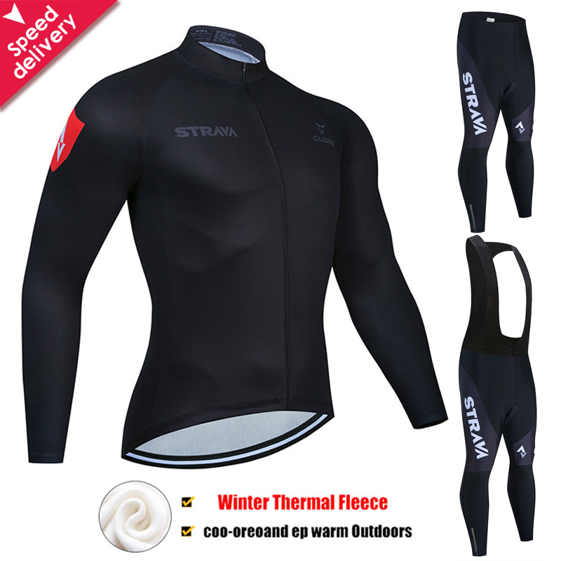 2020 STRAVA Winter Thermal Fleece Cycling Jersey Set Cycling Clothing Super Warm Mountain Bike Wear Racing Bicycle Clothing Set