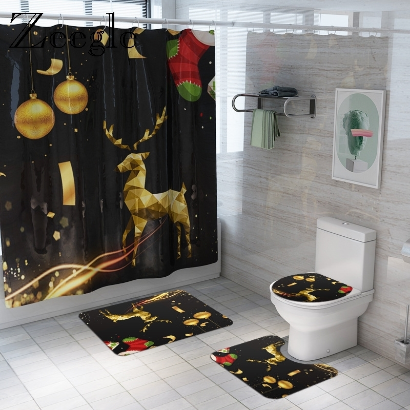 Bath Mat and Shower Curtain Set Printed Christmas Reindeer Bathroom Carpet Toilet Cover Floor Rugs Anti Slip Mat Set