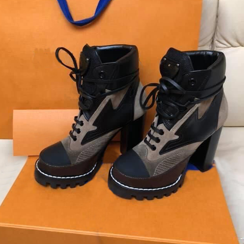 High heeled Martin boots Autumn winter Coarse heel women shoes Desert Boot 100% real leather zipper letter Lace up Fashion lady Heels Large size 35-41---42 US11-42 With box