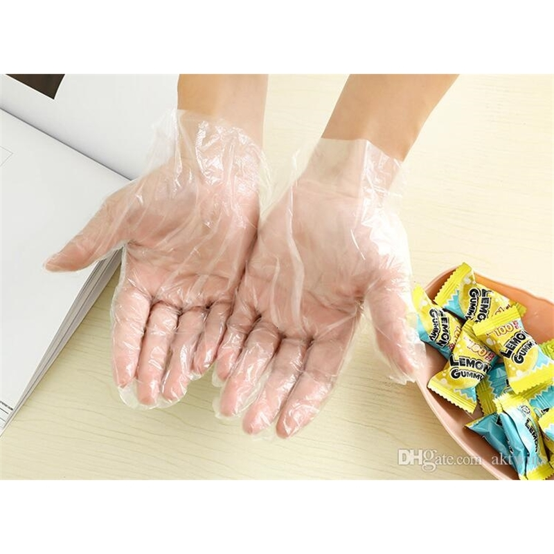 Plastic Disposable Glove Food Grade Waterproof Transparent Gloves Home Clean Gloves Colorful Packing Other Kitchen Tools WY585Q