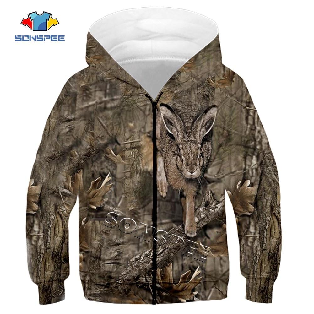 Child Zip Hoody Sweatshirt Top Camouflage Hunting Animal 3D Print Kids Fashion Zipper Hoodie Boy Baby Casual Streetwear Clothing (3)