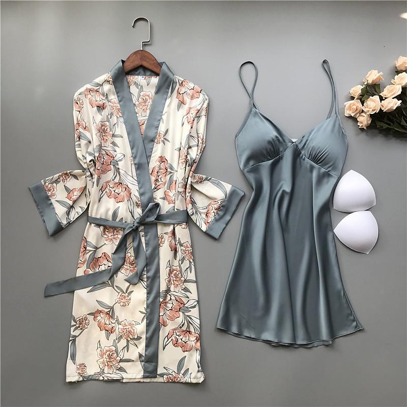 2 Robes Set Greyblue