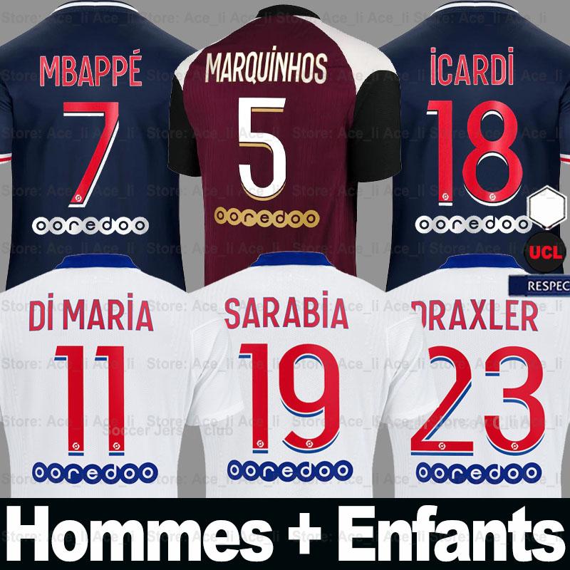 DHgate coupon: 20 21 Maillot de foot MBAPPE soccer jersey 2020 2021 ICARDI shirt Men + Kids kits homme enfant 50th maillots de football