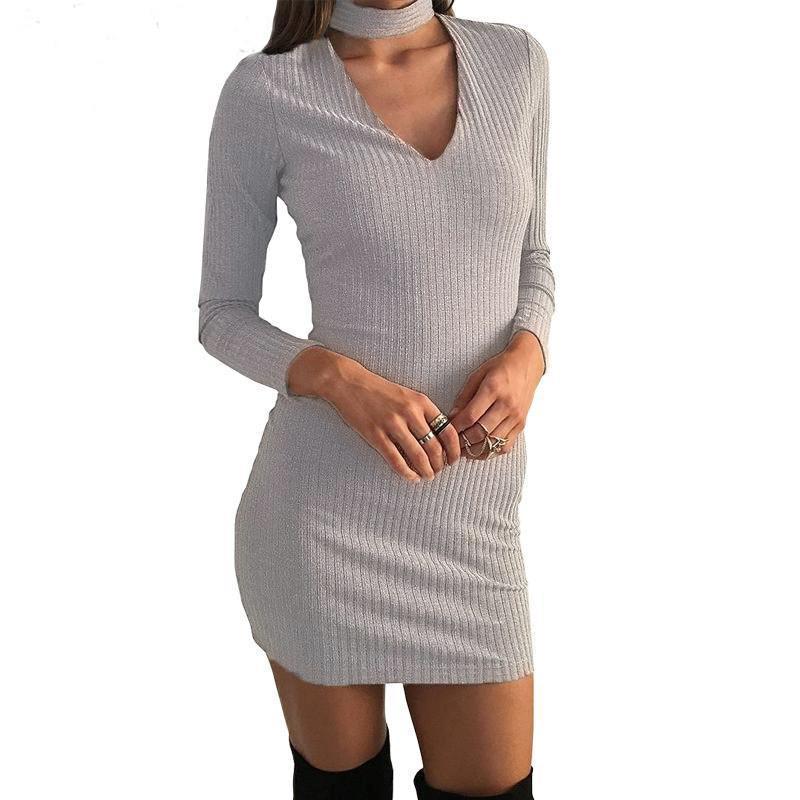 Dress Sexy V Neck Long Sleeve Slim Dress Casual Solid Color Women Dresses Autumn Women Mini