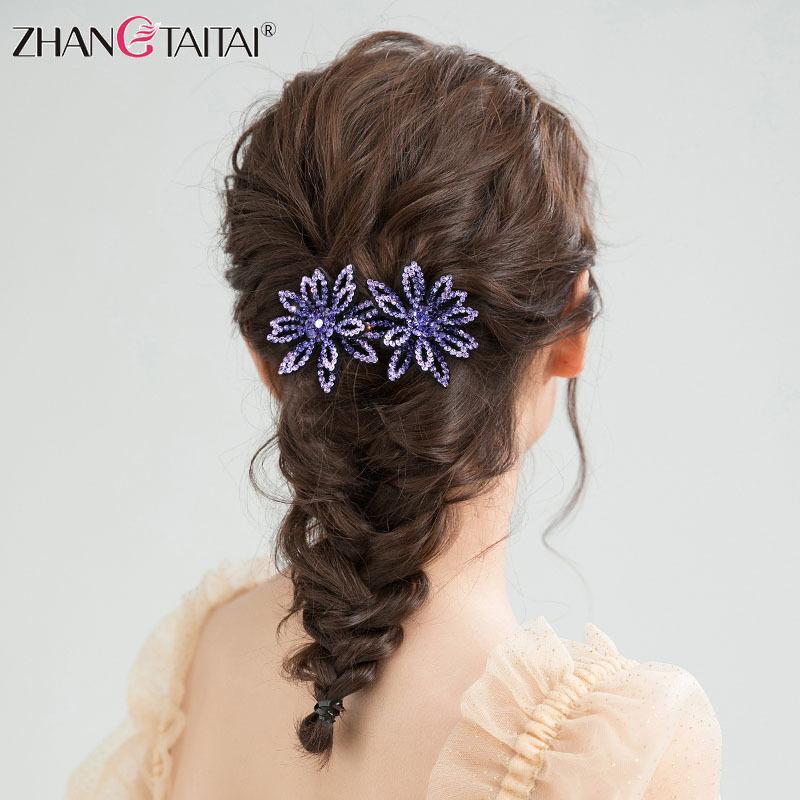 Wholesale super flower rhinestone party hair jewelry big Hair claw H295