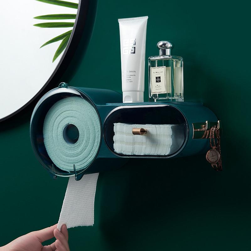 DFU PunchFree SelfAdhesive Waterproof WallMounted Toilet Tissue Box Cover Multifunction Bathroom Storage Organizer Paper Holder C0125