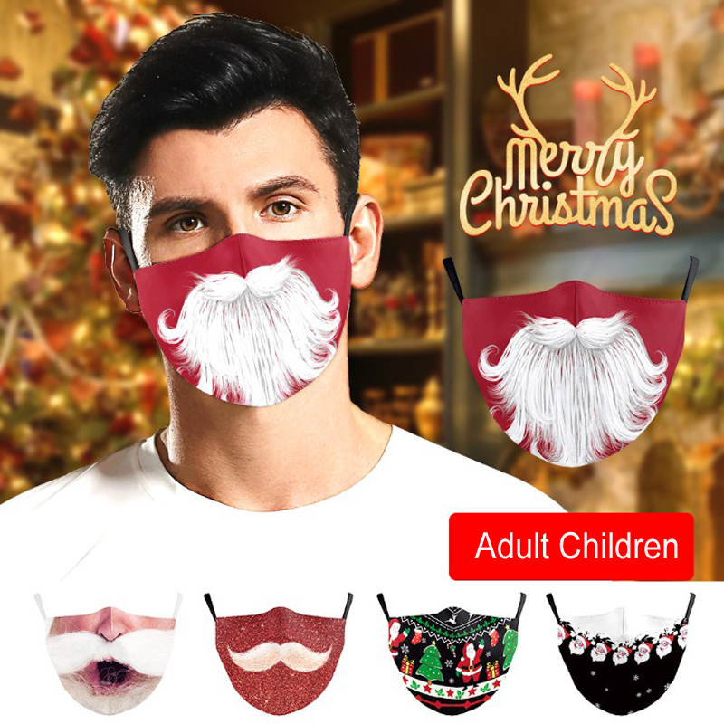 10 Style Christmas Santa Claus Anti Dust Fog Snowflower Cotton Face Mask Unisex Adult Children Reusable Washable 3D Digital Print Face Mask