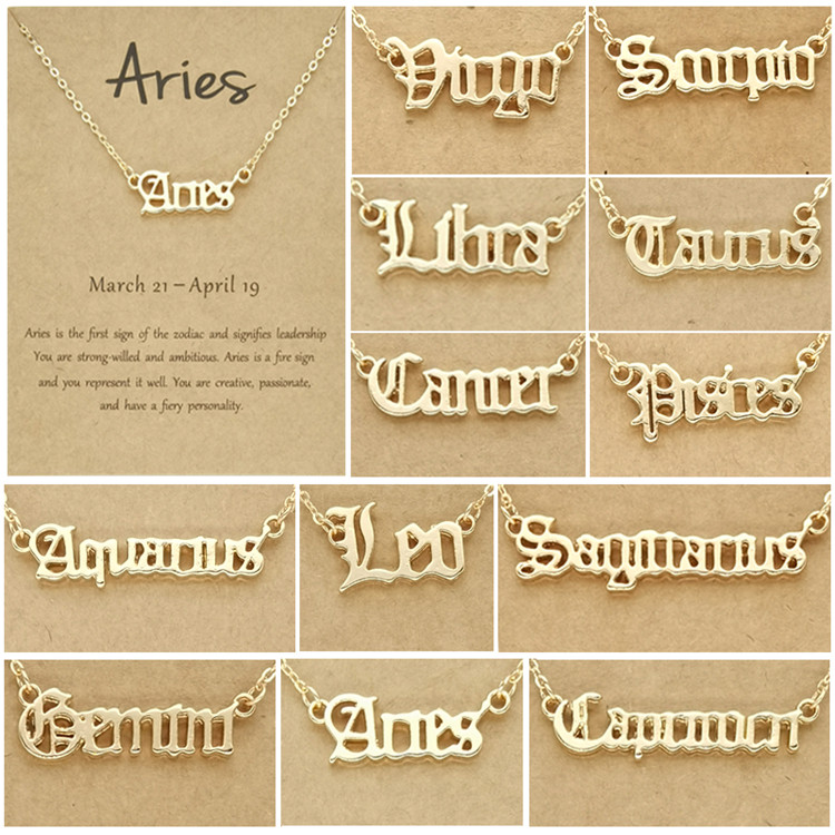 Personalize Jewelry Zodiac Sign Astrology Necklace Star Sign 12 Constellation Old English Letter Aries Charm Choker Necklaces Gift