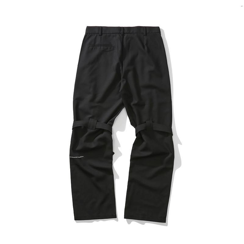 Black Embroidery Loose Casual Trousers Men and Women Straight Knee Lace Up Streetwear Suit Pants