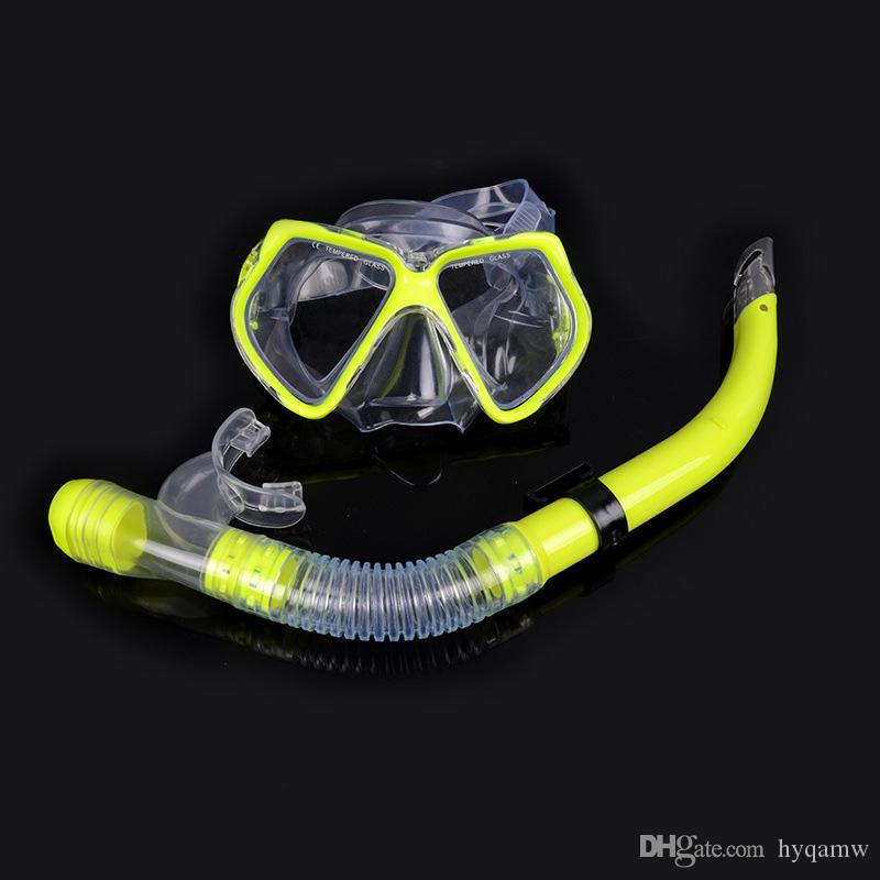 Adult Swimming Scuba Semi-dry Snorkel Breath Tube + Diving Mask Glass Lens Set nieuwe collectie