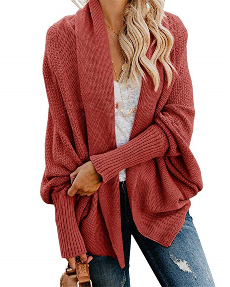2019 winter new women sweaters casual plus size batwing sleeve kintted winter women cardigan ladies tops clothing coat (25)