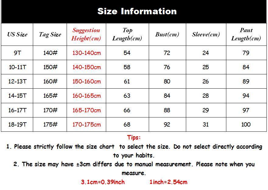 teens size chart
